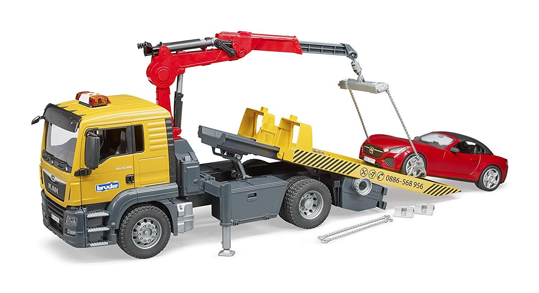 Bruder 03750 - MAN TGA sleepwagen met Roadster