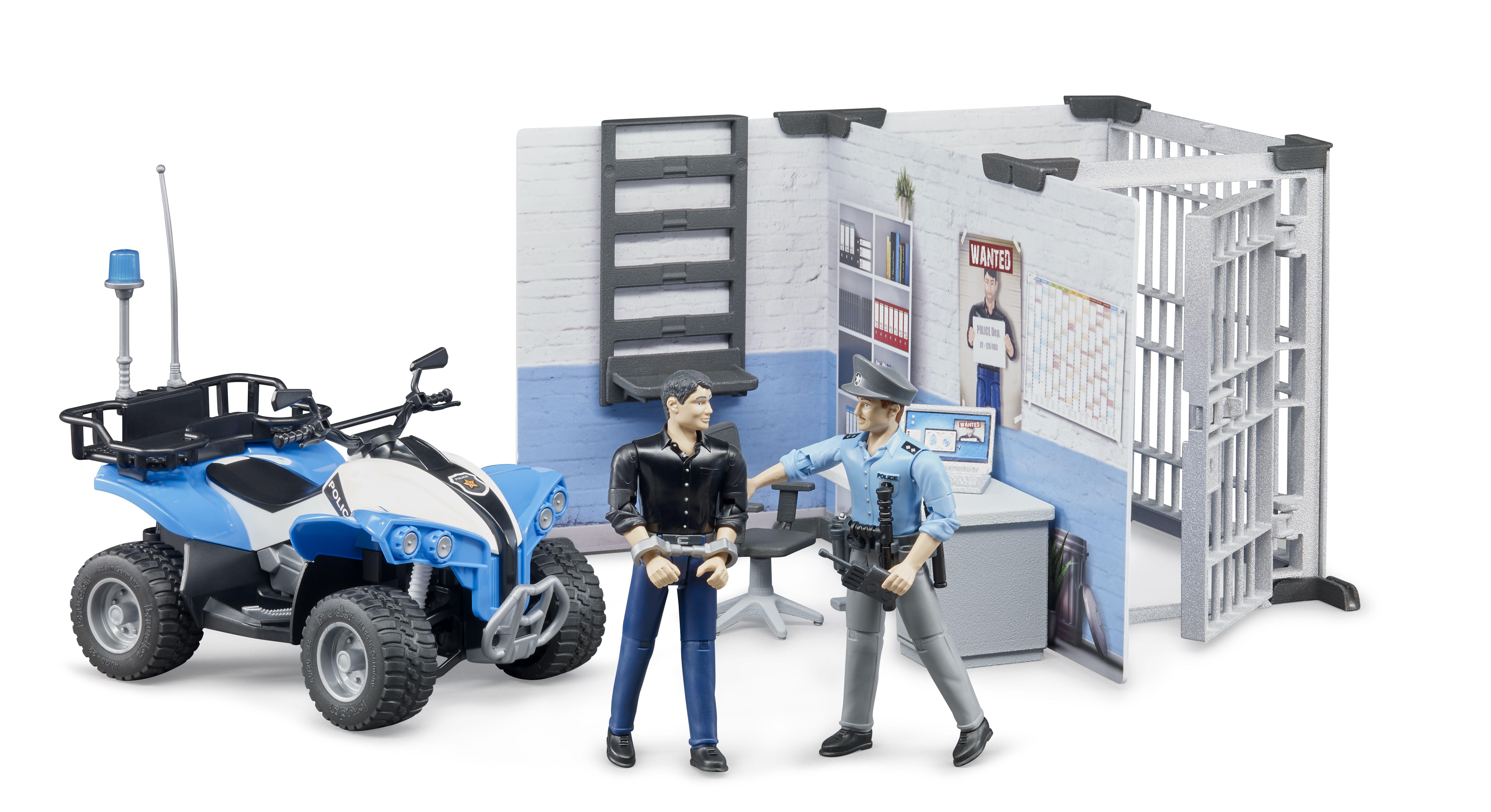 Bruder 62730 - Politiebureau met Quad en speelfiguren