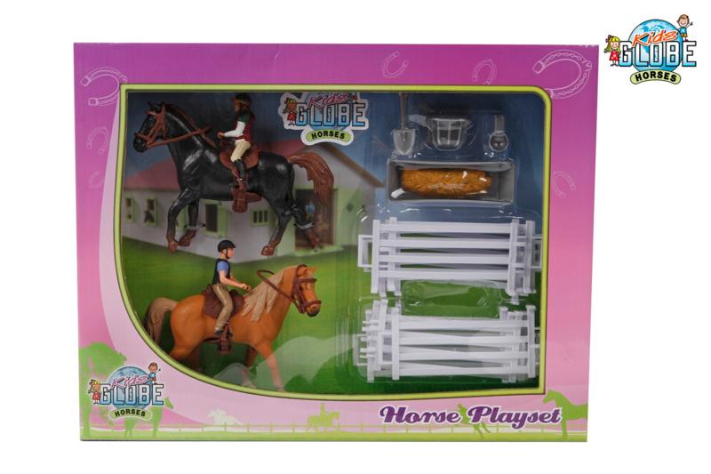 Uitgebreide paarden speelset - KidsGlobe Horses