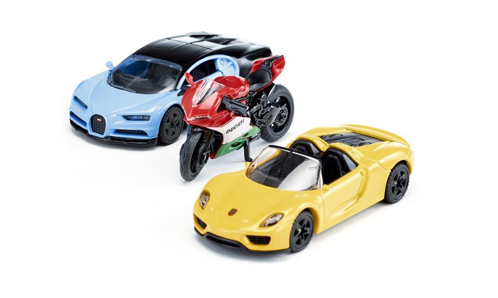 Set van 2 sportwagens en 1 motor 6313